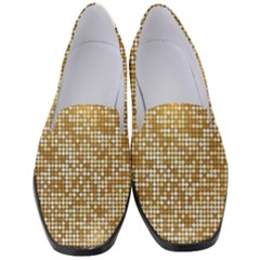 Retro Gold Glitters Golden Disco Ball Optical Illusion Women s Classic Loafer Heels by genx