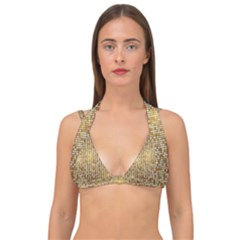 Retro Gold Glitters Golden Disco Ball Optical Illusion Double Strap Halter Bikini Top by genx