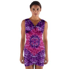 Flowers And Purple Suprise To Love And Enjoy Wrap Front Bodycon Dress by pepitasart