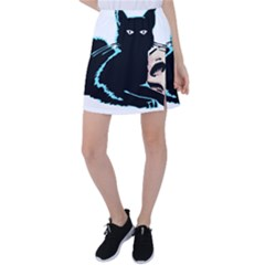 Black Cat & Halloween Skull Tennis Skirt