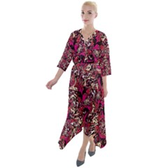 Ab 91 Quarter Sleeve Wrap Front Maxi Dress