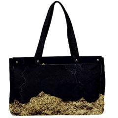 Golden Torn And Black Marble Canvas Work Bag by goljakoff