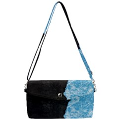 Blue Ice Torn Removable Strap Clutch Bag