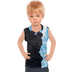 Blue Ice Torn Kids  Mesh Tank Top