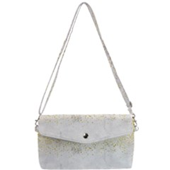 Gold Glitter On White Marble Removable Strap Clutch Bag