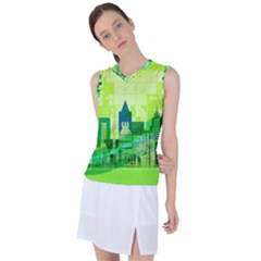 Architecture Skyline Women s Sleeveless Mesh Sports Top