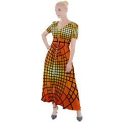 Pattern Background Rings Circle Button Up Short Sleeve Maxi Dress