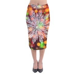 Ice Crystal Crystal Snowflake Bokeh Velvet Midi Pencil Skirt by Wegoenart