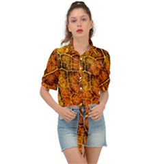 Autumn Leaves Forest Fall Color Tie Front Shirt
