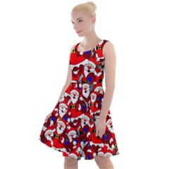 Nicholas Santa Christmas Pattern Knee Length Skater Dress