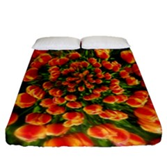 Tulips Arrangement Many Blossom Fitted Sheet (queen Size)