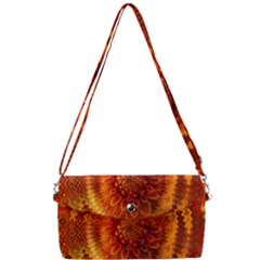 Abstract Dahlia Orange Autumn Removable Strap Clutch Bag