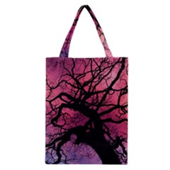 Trees Silhouette Sky Clouds Sunset Classic Tote Bag