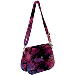 Trees Silhouette Sky Clouds Sunset Saddle Handbag