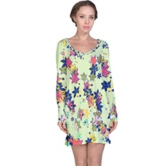 Flowers Ornament Decoration Long Sleeve Nightdress