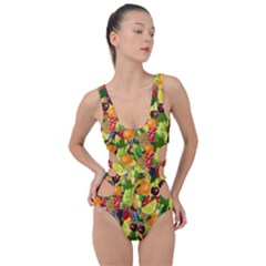 Background Pattern Structure Fruit Side Cut Out Swimsuit