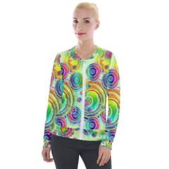 Wallpaper Pattern Colorful Color Velour Zip Up Jacket