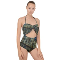 Leaf Leaves Fall Foliage Structure Scallop Top Cut Out Swimsuit by Wegoenart