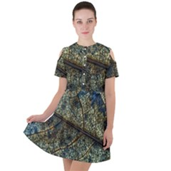 Leaf Leaves Fall Foliage Structure Short Sleeve Shoulder Cut Out Dress