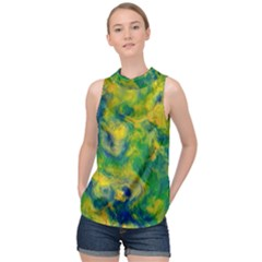 Abstract Texture Background Color High Neck Satin Top