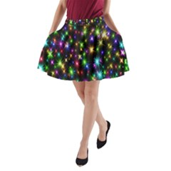Star Colorful Christmas Abstract A-line Pocket Skirt