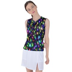 Star Colorful Christmas Abstract Women s Sleeveless Mesh Sports Top
