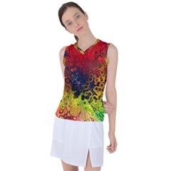 Color Abstract Colorful Art Women s Sleeveless Mesh Sports Top by Wegoenart