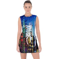 Skyline Frankfurt Christmas Star Lace Up Front Bodycon Dress