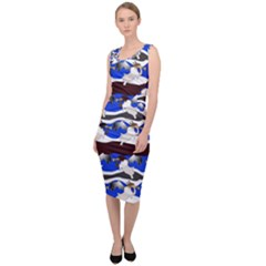 Angels Pattern Sleeveless Pencil Dress by bloomingvinedesign