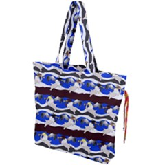 Angels Pattern Drawstring Tote Bag by bloomingvinedesign