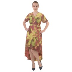 Tropical Vintage Floral Artwork Print Front Wrap High Low Dress by dflcprintsclothing