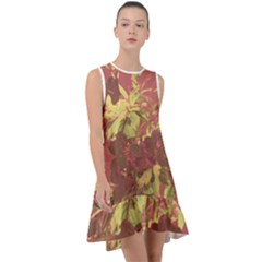 Tropical Vintage Floral Artwork Print Frill Swing Dress
