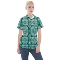 Sea And Florals In Deep Love Women s Short Sleeve Pocket Shirt
