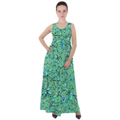 Green Flowers Empire Waist Velour Maxi Dress by ZeeBee