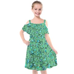 Green Flowers Kids  Cut Out Shoulders Chiffon Dress