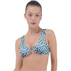 Blue Abstract Drops Ring Detail Bikini Top