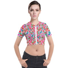 Abstract Drops Short Sleeve Cropped Jacket by goljakoff