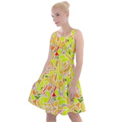 Yellow Abstract Drops Knee Length Skater Dress