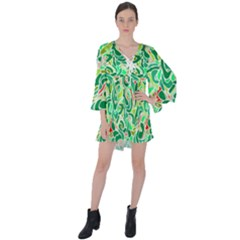 Green Abstract Drops Pattern V Neck Flare Sleeve Mini Dress