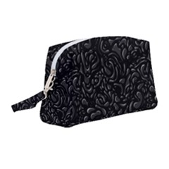 Black Abstract Drops Pattern Wristlet Pouch Bag (medium)