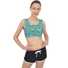Green Abstract Drops Pattern V Back Sports Bra