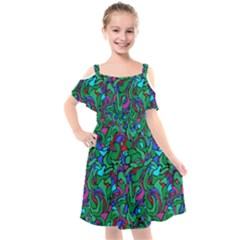 Green Abstract Drops Pattern Kids  Cut Out Shoulders Chiffon Dress