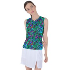 Green Abstract Drops Pattern Women s Sleeveless Mesh Sports Top by goljakoff