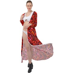 Red Abstract Drops Pattern Maxi Chiffon Beach Wrap