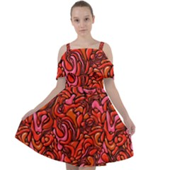 Red Abstract Drops Pattern Cut Out Shoulders Chiffon Dress