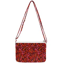 Red Abstract Drops Pattern Double Gusset Crossbody Bag