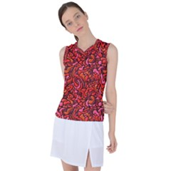 Red Abstract Drops Pattern Women s Sleeveless Mesh Sports Top by goljakoff