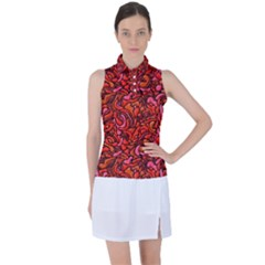 Red Abstract Drops Pattern Women?¯s Sleeveless Polo