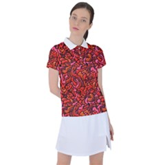 Red Abstract Drops Pattern Women s Polo Tee