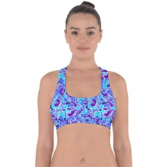 Blue Abstract Drops Pattern Cross Back Hipster Bikini Top